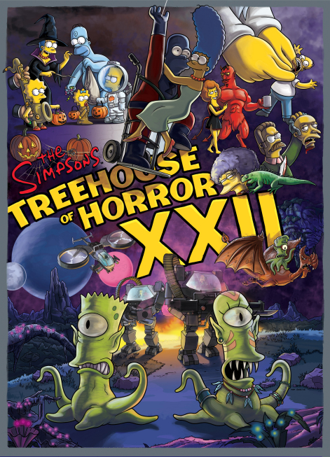 """THE SIMPSONS: In the 22nd annual installment of """"Treehouse of Horror,"""" Homer channels Aron Ralston (guest voicing as himself) after a boulder traps his arm; a venomous spider bite leaves Homer paralyzed; then Ned Flanders, devout preacher by day, transforms into a cold-blooded vigilante by night; and Bart and Milhouse get caught in inter-planetary warfare in the all-new """"Treehouse of Horror XXII"""" episode of THE SIMPSONS airing Sunday, Oct. 30 (8:00-8:30 PM ET/PT) on FOX. THE SIMPSONS ª and © 2011 TCFFC ALL RIGHTS RESERVED."""